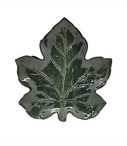 Platón de cerámica con diseño de hoja de 33.02 cm color verde