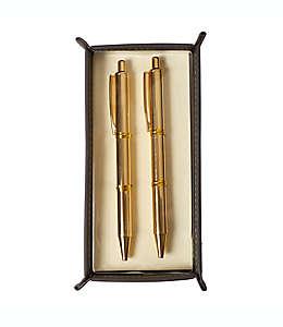 Juego de plumas con charola Eccolo™ color dorado