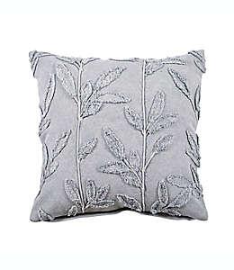 Cojín decorativo cuadrado de algodón Bee & Willow™ con bordado floral color gris