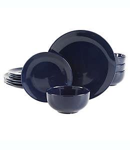 Vajilla de cerámica Simply Essential™ Coupe redonda color azul marino, Set de 12 piezas