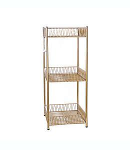 Mueble organizador de acero para baño Wild Sage™ 3 niveles color dorado