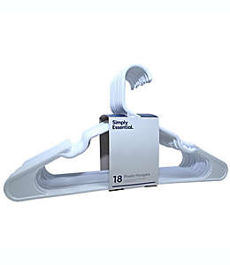 Ganchos de plástico para ropa Simply Essential™ con muescas color blanco