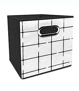 Contenedor plegable de poliéster Simply Essential™ de 27.94 cm color negro/beige