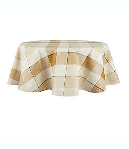 Mantel redondo plastificado de poliéster Bee & Willow™ Tonal de 1.77 m a cuadros color amarillo