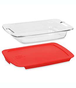 Refractario Pyrex® Easy Grab™ ovalado con tapa color rojo, 2.83 L