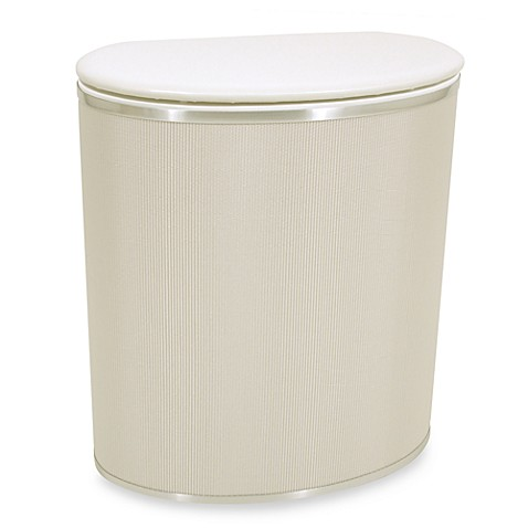 Bow front hamper in pearl white bed bath beyond - High end laundry hamper ...