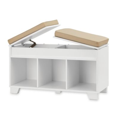 image of Real Simple® 3-Cube Split-Top Storage Bench in White