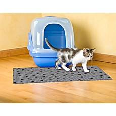 image of Drymate® Large Cat Litter Box Mat with Black Paw Print
