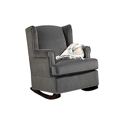 Abbyson Livingu0026reg; Hunter Velvet Wingback Rocking Chair In Charcoal Grey