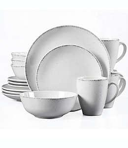 Vajilla Liam Urban Loft® en blanco/gris, 16 piezas