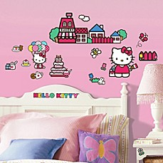 hello kitty bedroom in a box. image of Roomates Hello Kitty Peel  Stick Wall Decals Bed Bath Beyond