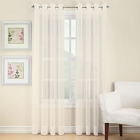 Voile 108-Inch Sheer Grommet Window Curtain Panel in Ivory