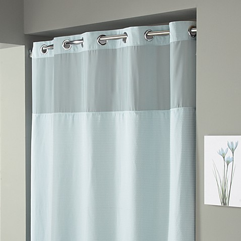 Hookless® Waffle 71-Inch x 74-Inch Fabric Shower Curtain in Mist Blue