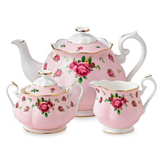 image of Royal Albert New Country Roses 3-Piece Tea Set in Pink