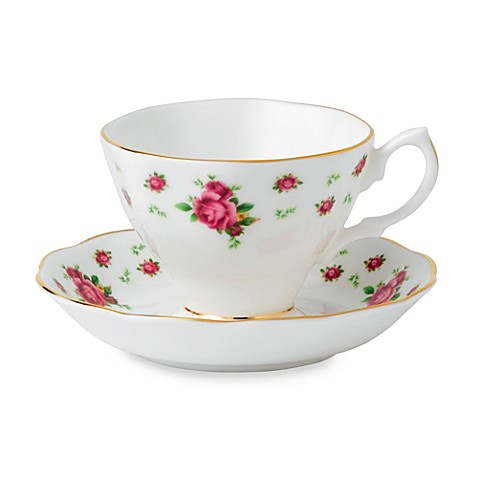 Royal Albert New Country Roses Teacup and Saucer in White