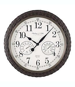 Reloj de pared con termómetro e higrómetro, Sterling & Noble® 59.69 cm en café oscuro