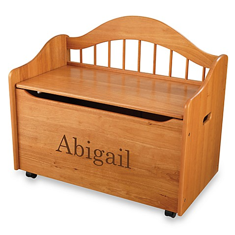 "KidKraft® ""Hayley"" Toy Box in Honey with Brown Lettering"