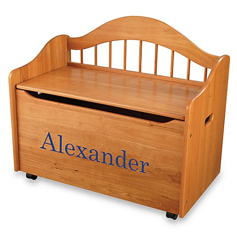 "KidKraft® ""Matthew"" Toy Box in Honey with Blue Lettering"