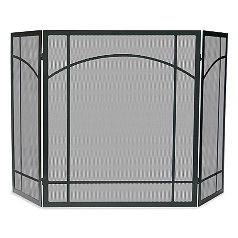 UniFlame® 3-Fold Mission Design Fireplace Screen in Black Wrought Iron