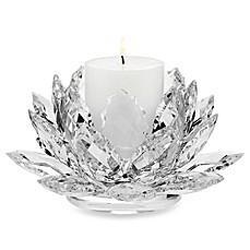 image of Godinger Dublin Crystal Lotus Pillar Candle Holder with Candle