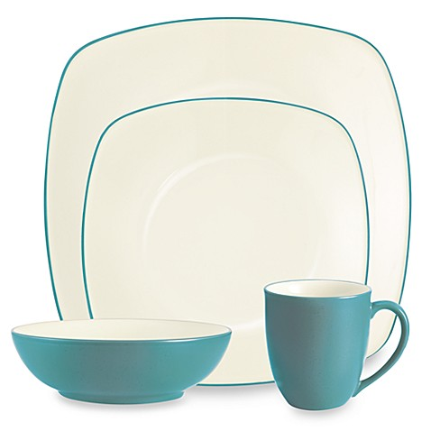 Noritake® Colorwave Square Dinnerware Collection in Turquoise - Bed ...