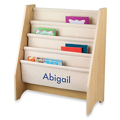 "KidKraft® ""Taylor"" Personalized Sling Bookcase in Natural with Blue Lettering"