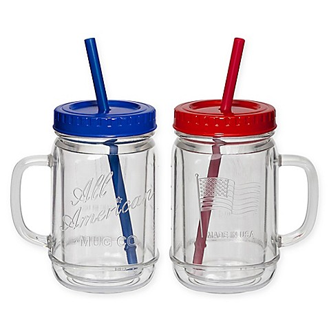 Creativeware 174 Acrylic All American Mason Jar Mugs Set Of