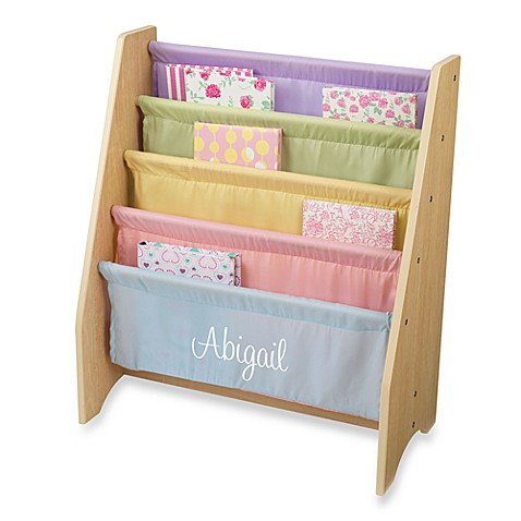 "KidKraft® Personalized ""Elizabeth"" Girl's Sling Bookcase with Pastel/White Lettering"