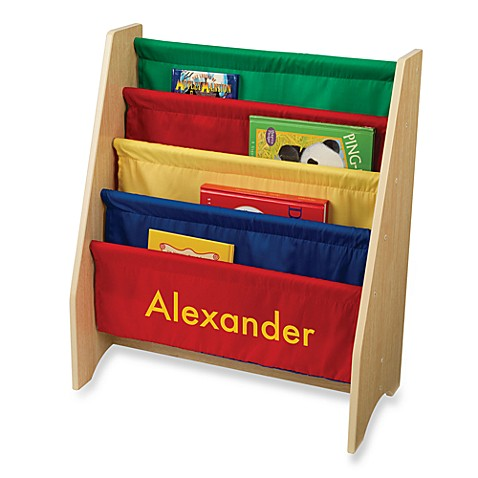 "KidKraft® Personalized ""Noah"" Boy's Sling Bookcase Primary/Yellow Lettering"