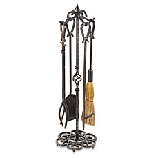 image of UniFlame® F-1686 Antique Rust Fireset with Horseshoe Handles