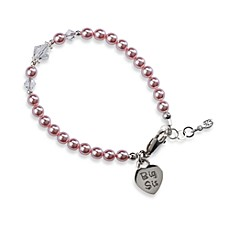 image of Cherished Moments Big Sis Medium Sterling Silver Bracelet in Pink