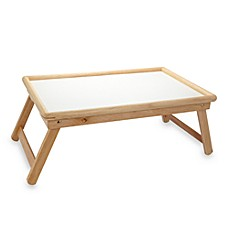image of Beechwood Folding Bed Tray With White Laminate Top