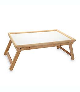 Charola para cama con tablero laminado en blanco de madera de haya