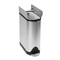image of simplehuman® Brushed Stainless Steel Fingerprint-Proof Butterfly 45-Liter Step Trash Can