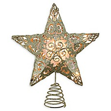 image of Swirl 11-Inch Lighted Christmas Tree Topper in Gold with Clear Lights