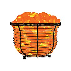 image of Himalayan Glow® Ionic Crystal Salt Basket Tall Lamp