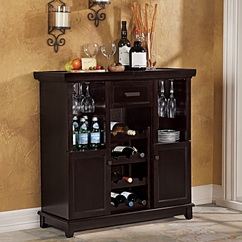 image of Tuscan Expandable Wine Bar in Espresso. Home Bars   Bar Carts   Kitchen Bar Furniture   Bed Bath   Beyond