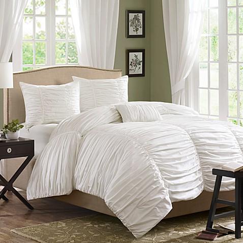 madison park delancey comforter set in white bed bath beyond. Black Bedroom Furniture Sets. Home Design Ideas