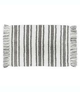 Tapete para baño de algodón Striped Farmhouse Ticking color crema/gris