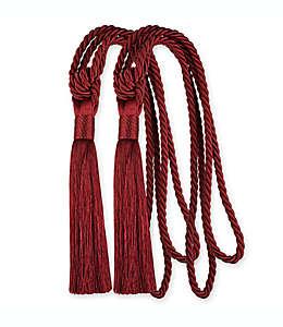 Abrazaderas con borlas de poliéster color rojo Set de 2 pzas.