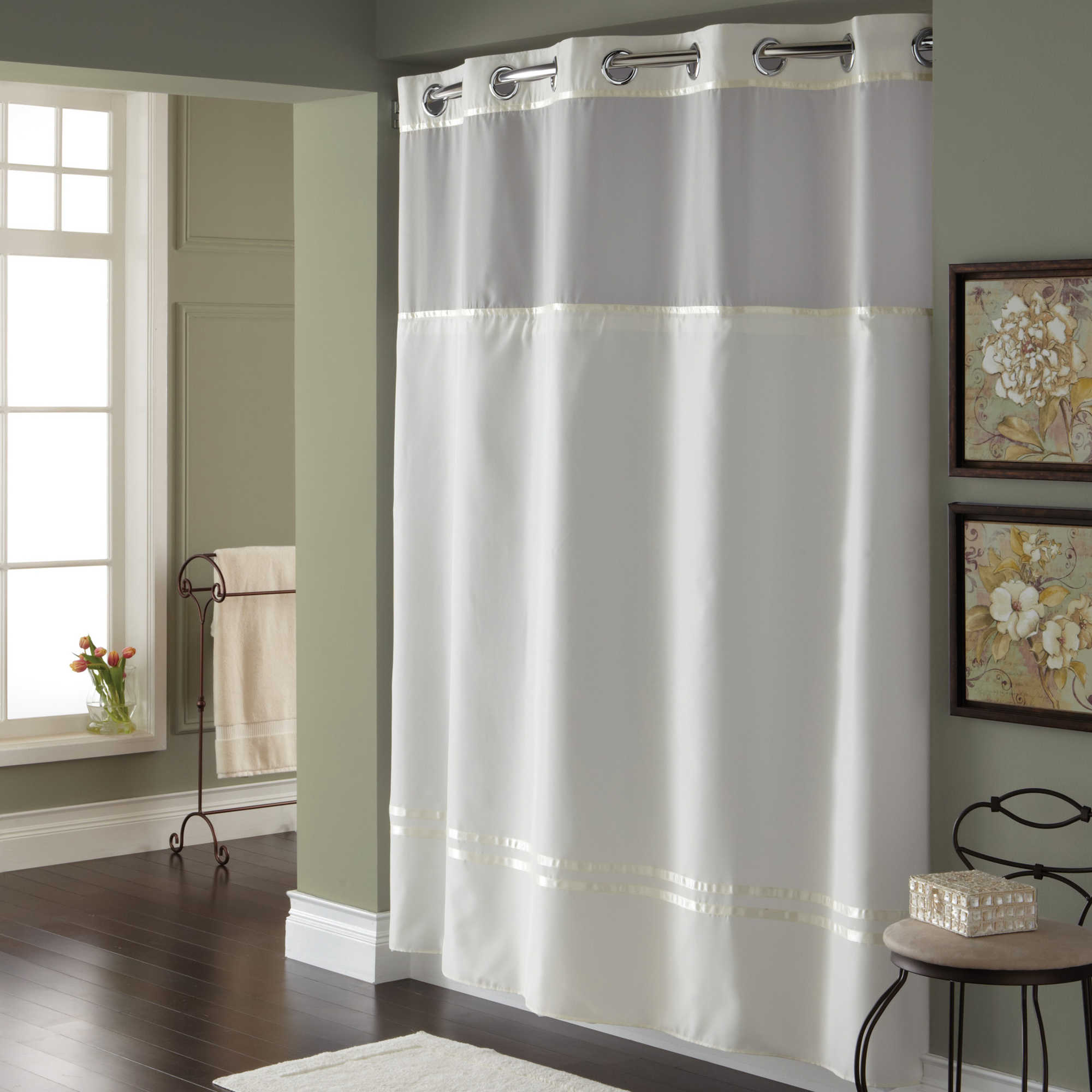 Details About HooklessR Escape 71 Inch X 74 Fabric Shower Curtain And Line