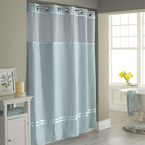 image of hookless escape fabric shower curtain and shower curtain liner set
