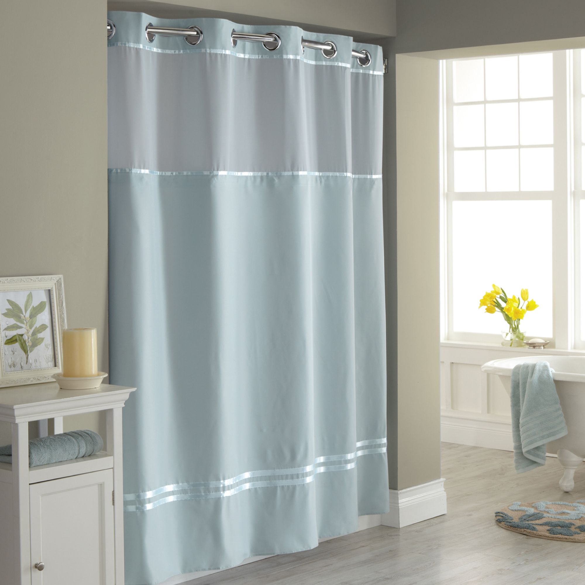 hookless escape fabric shower curtain and shower curtain liner hookless reg escape fabric shower curtain and shower curtain liner set