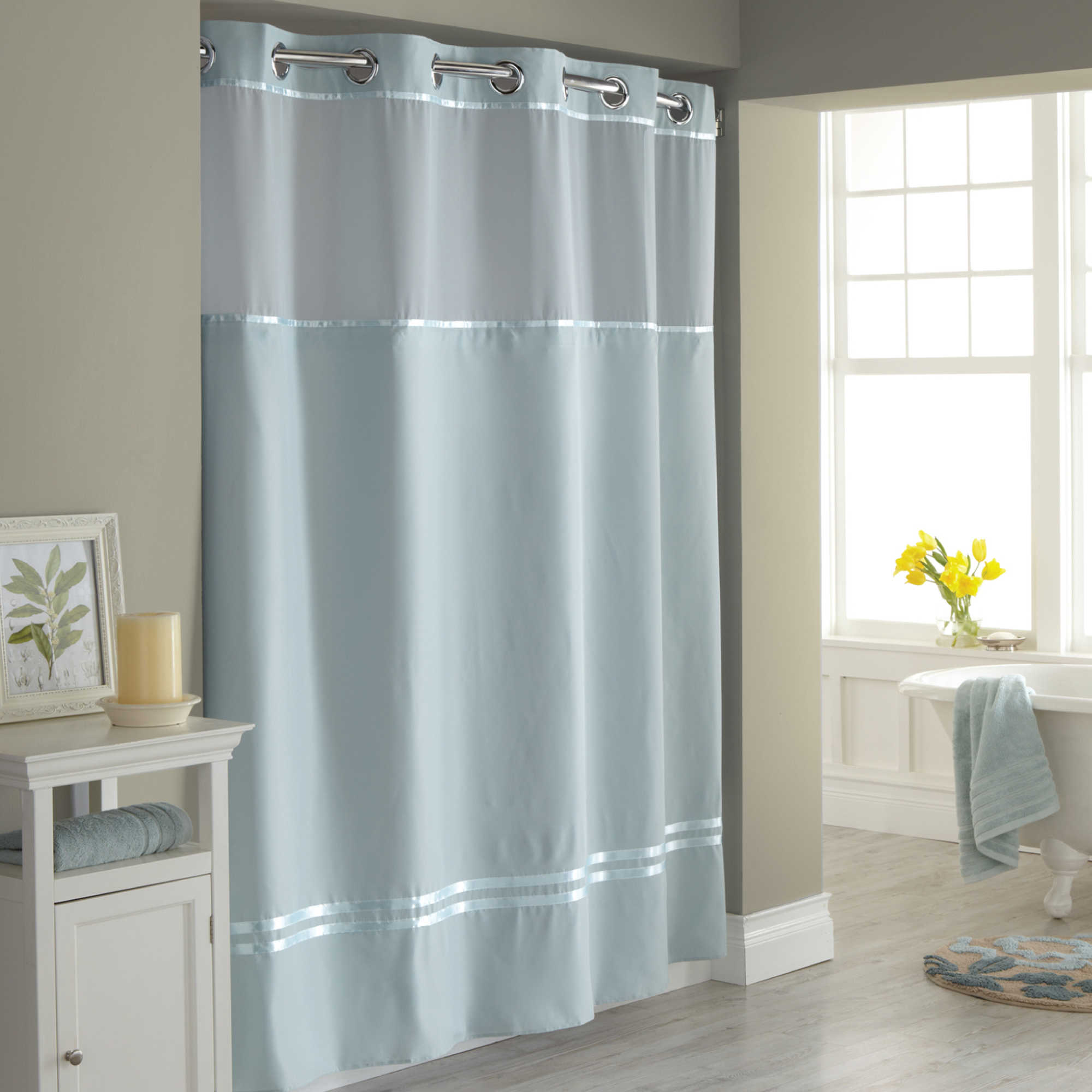 Bathroom window curtains with matching shower curtain - Image Of Hookless Escape Fabric Shower Curtain And Shower Curtain Liner Set