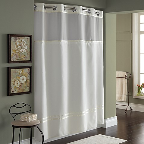 Hooklessu00ae Escape 71Inch x 74Inch Fabric Shower Curtain and Shower Curtain Liner Set in Ivory