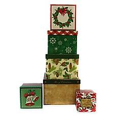 6 piece christmas square gift box set - Holiday Value Decorative Christmas Set