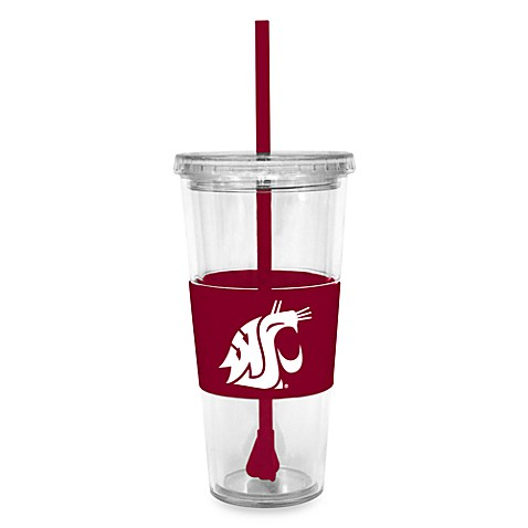 Double Wall 22-Ounce Tumbler with Lid & Straw - Washington State University
