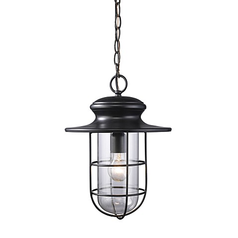 ELK Lighting Portside 1-Light Outdoor Pendant in Matte Black