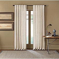 image of Cambria Malta Rod Pocket/Back Tab Window Curtain Panel in Snow  White