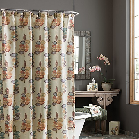 Curtains Ideas bed bath and beyond bathroom curtains : Croscill® Mosaic Leaves Fabric Shower Curtain - Bed Bath & Beyond